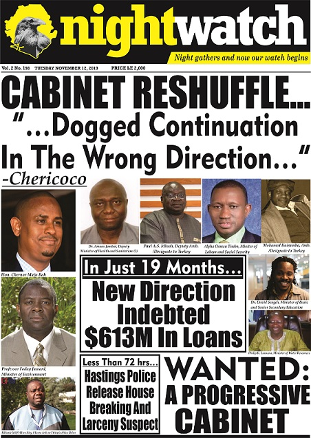 "Cabinet Reshuffle… ""…Dogged Continuation in the Wrong Direction…"" -Chericoco"